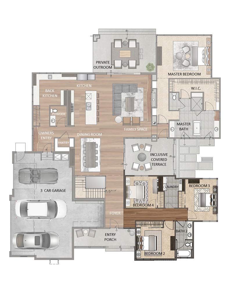 Main Level - 3 Bedroom Option